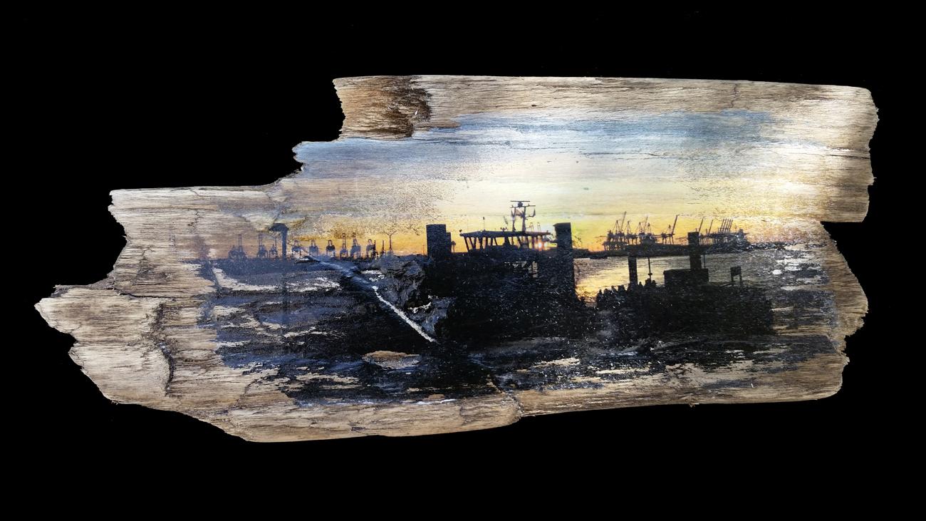 Hafenschiffe in Övelgönne ~ Fundort des Holzes: Brasilien