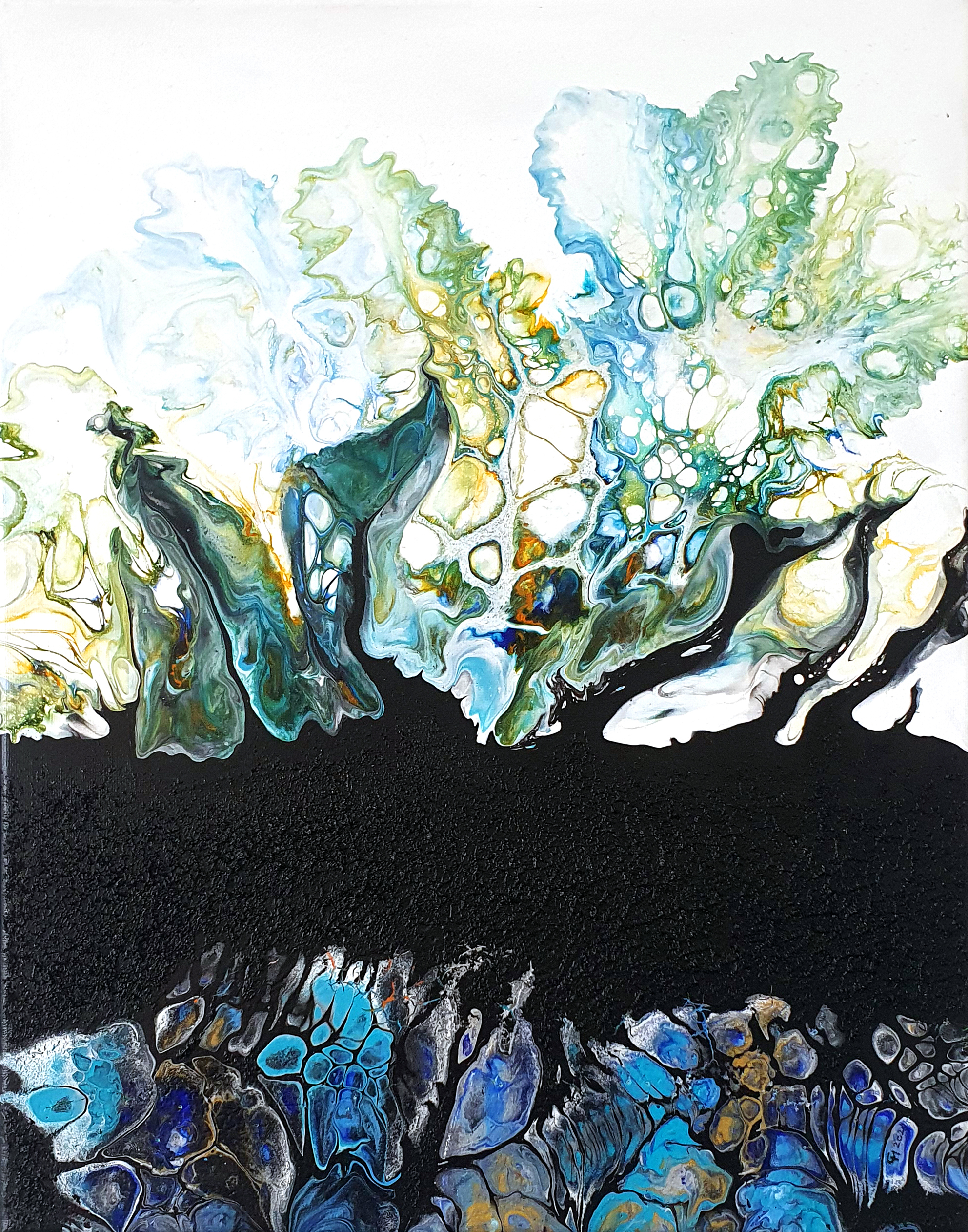"""""""Blüten"""", acrylic pouring by Calla Hueppe, Claudie Hamburg, Claudie Hüppe"""