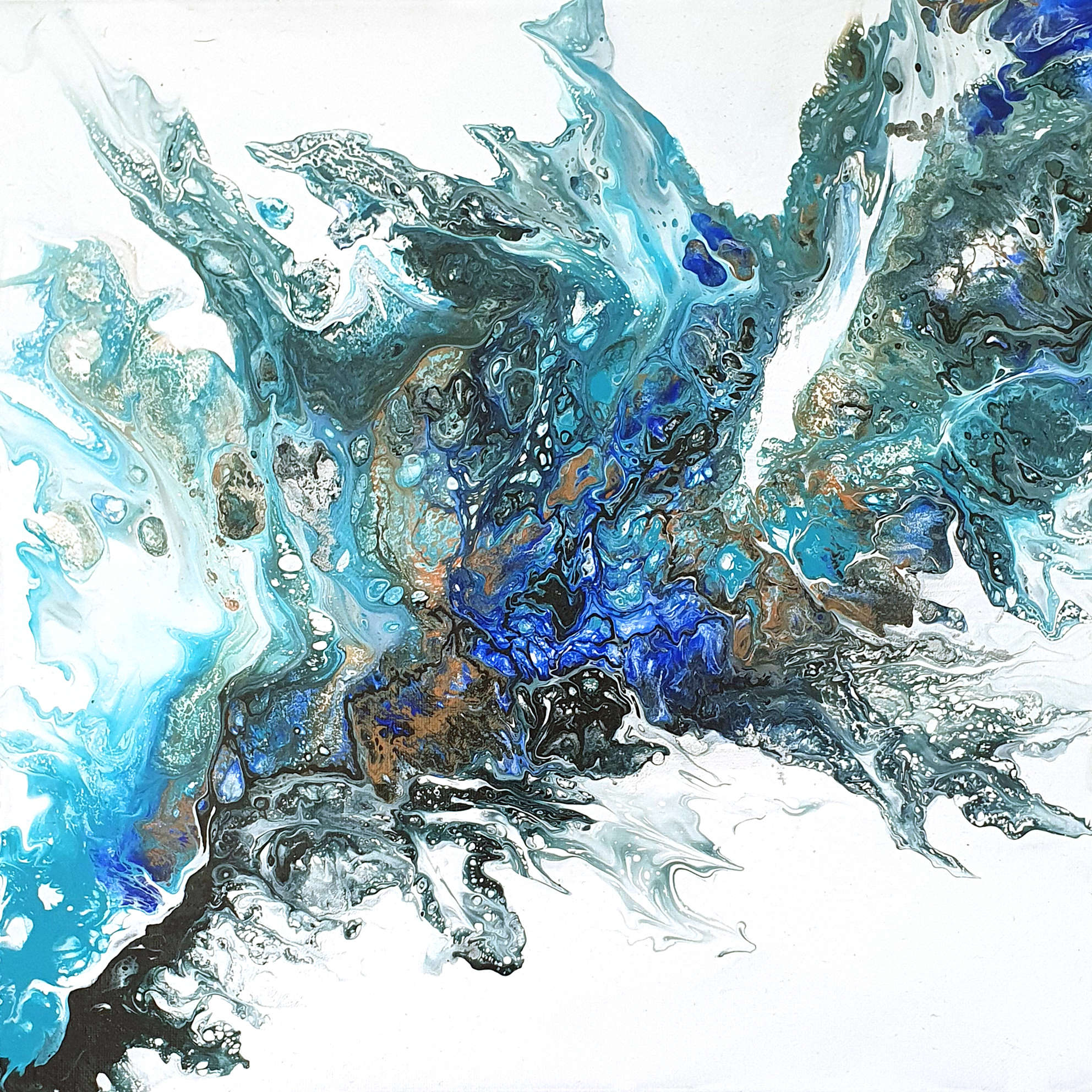 """""""splash"""", acrylic pouring by Calla Hueppe, Claudie Hamburg, Claudie Hüppe"""