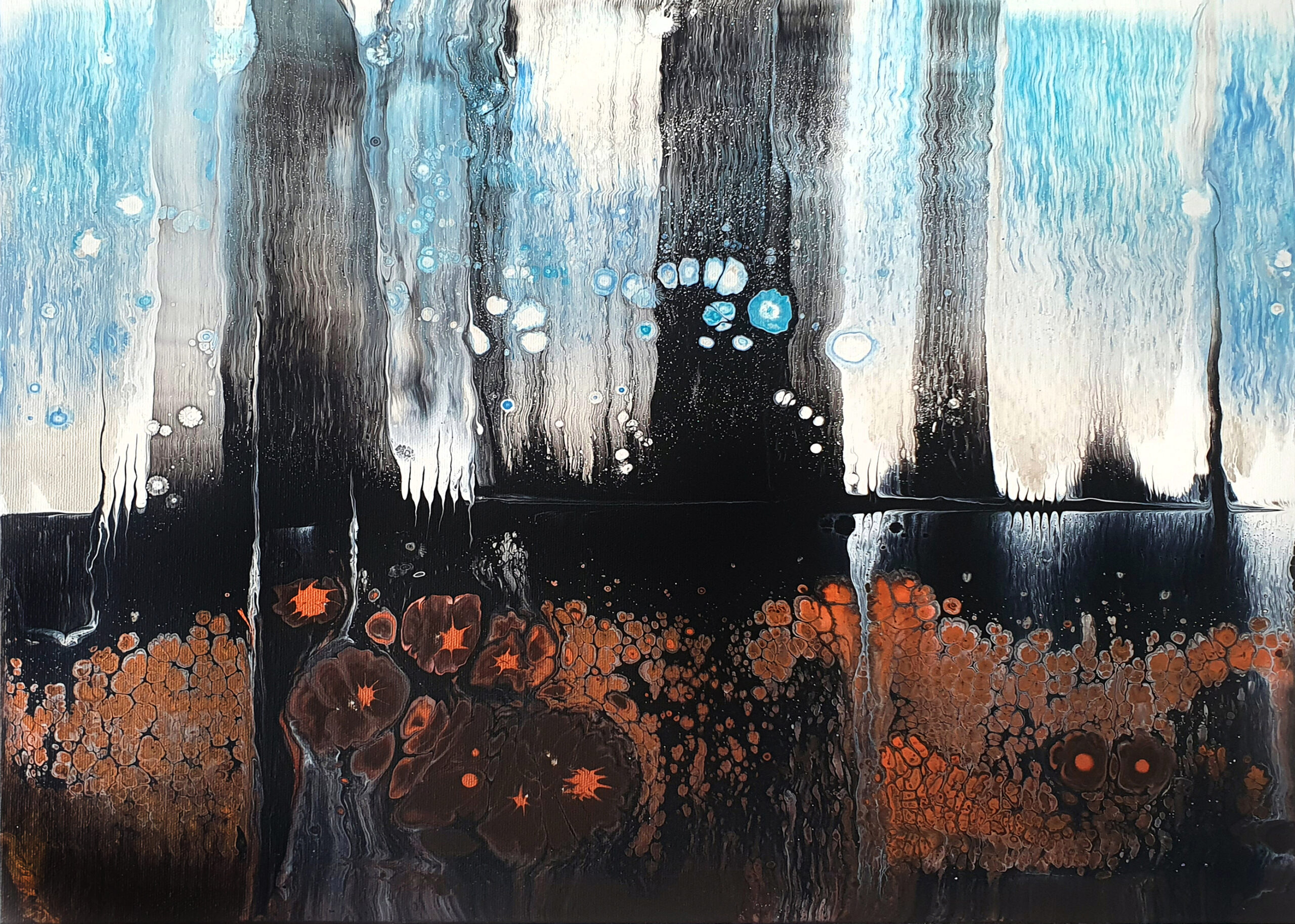 """""""lights"""", acrylic pouring by Calla Hueppe, Claudie Hamburg, Claudie Hüppe"""
